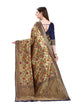 Blue and Golden Floral Design Kanjivaram Silk Saree