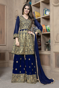 New Indian Designer Party Wear Blue Sharara Dress for Girls