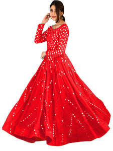 Designer Mirror Work Red Anarkali Gown