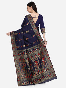 Fancy Navy Blue Mysore Silk Saree