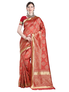 Orange Banarasi Silk Saree For Ladies