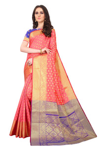 Fancy Designer Peach Soft Silk Saree