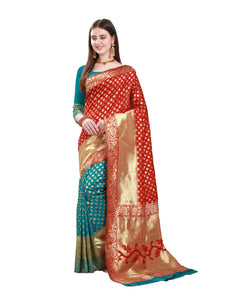 Red and Turquoise Jacquard Silk Saree For Ladies