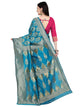 Turquoise and Pink Mysore Silk Saree
