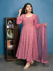 Designer  Pink Georgette Sequence Work Anarkali Suit