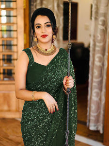 Designer Fancy Sequence Work Green saree