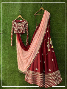 Designer Maroon and Pink Silk Bridal Wedding Lehenga Choli