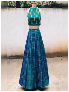 Peacock Blue and Green Shaded Designer Crop Top Lehenga