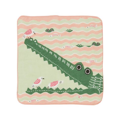 Fluffy Towel Crocodile Pink