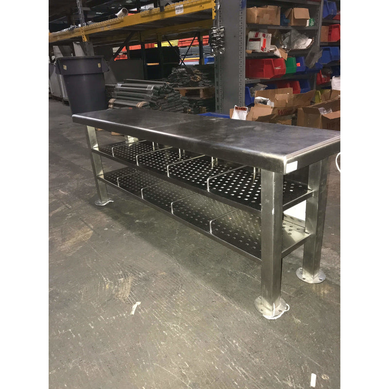 "Used Stainless Steel ESD Gowning Bench (12"" wide x 18"" tall x 96"" long) - Atlanta Bin"