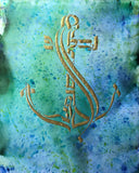 """Anchor"", 2019, Hebrew calligraphy in acrylic on alcohol ink: 6"" x 9"", 14 PT. UV High Gloss Cover"