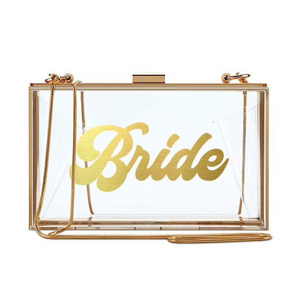 Clear Bride Clutch - Gold