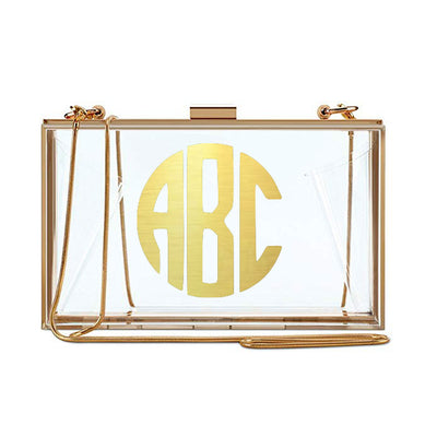 Clear Monogram Clutch - Gold