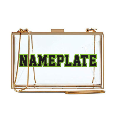 Clear Nameplate Clutch - Two Color Block