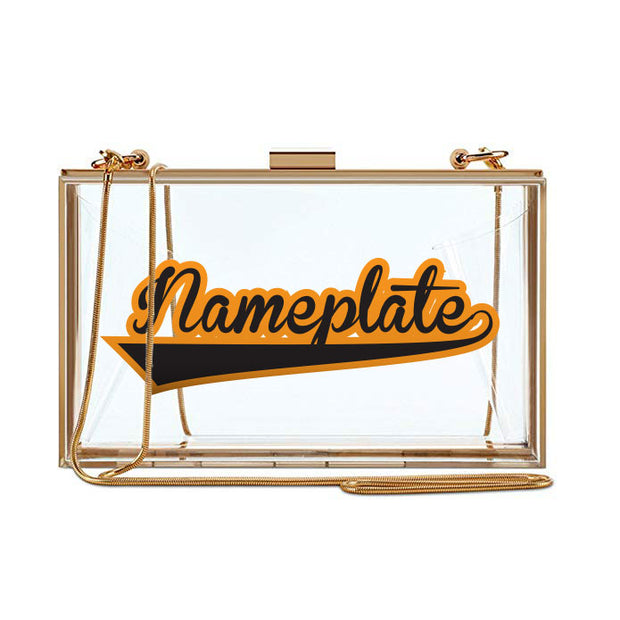 Clear Nameplate Clutch - Two Color Varsity
