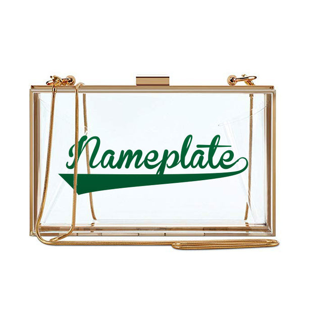 Clear Nameplate Clutch - Varsity