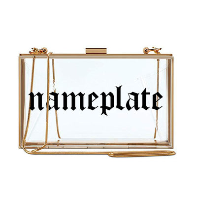 Clear Nameplate Clutch - Gothic