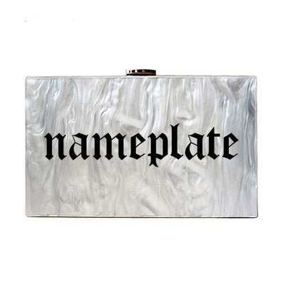 Pearl Nameplate Clutch - Gothic