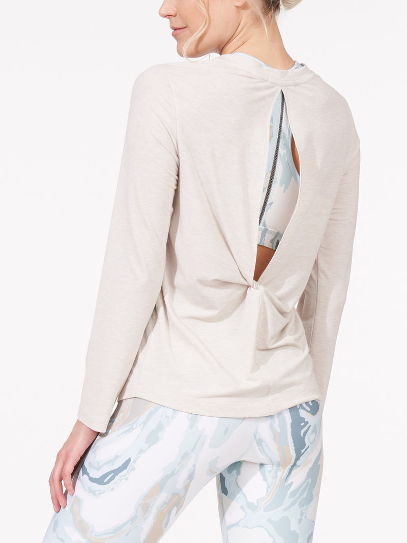 Thrive Back Slit Twist Long Sleeve Tee Heathered Oatmeal