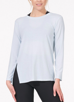 Thrive Long Sleeve Tee with Back Slits Icy Blue