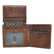 Strong and Courageous Brown Genuine Leather Wallet - Joshua 1:9