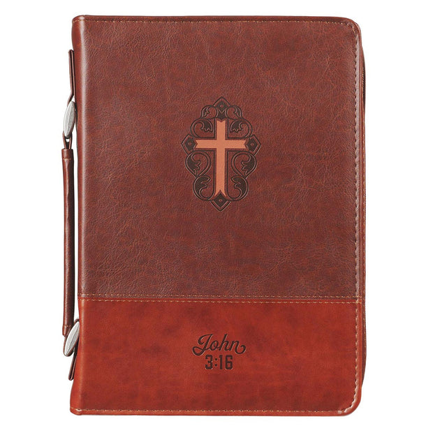 Classic Brown John 3:16 Bible Cover (Large)