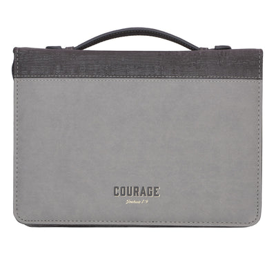 Courage Two-tone Gray Faux Leather Teen Bible Cover – Joshua 1:9