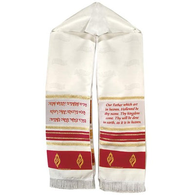 The Lord's Prayer--Prayer Shawl (red with gold accents)