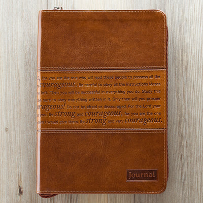 Be Strong & Courageous Brown Leather Journal
