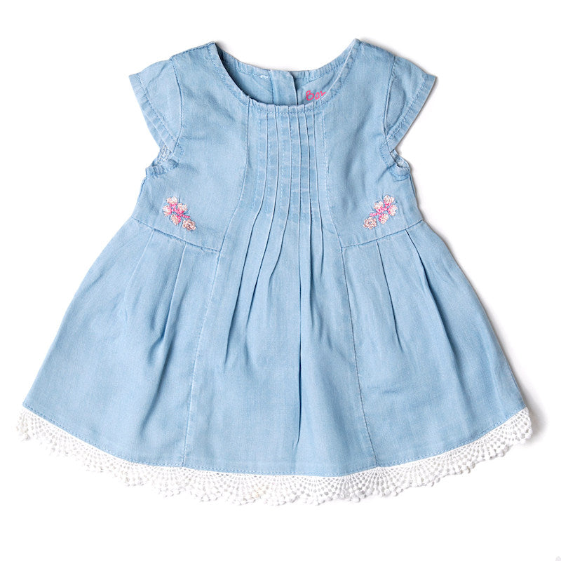 Denim and Guipure Lace Dress - Pink and Blue Baby Boutique