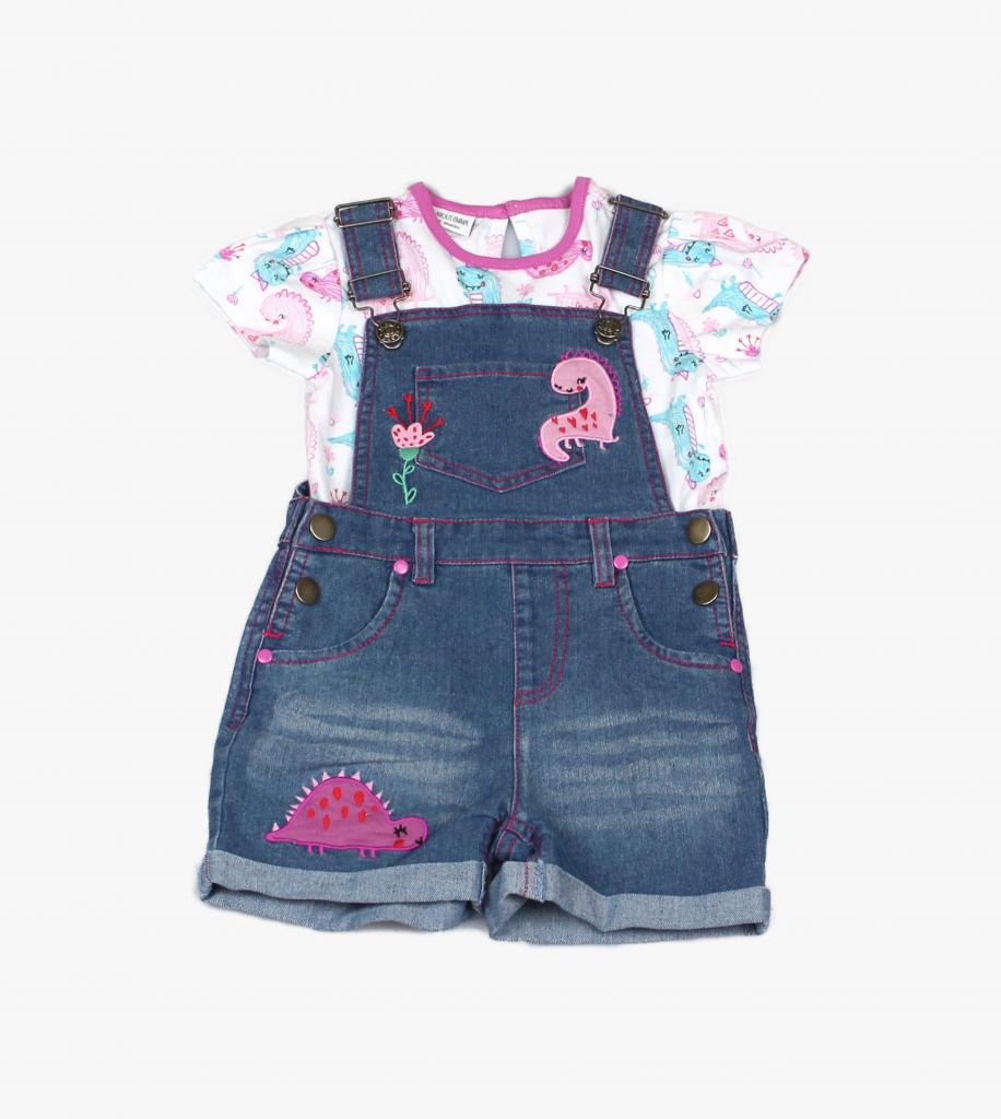 Dinosaur Denim Dungaree Set - Pink and Blue Baby Boutique
