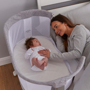 PURFLO BREATHABLE BEDSIDE CRIB MARL GREY