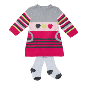 Striped and Hearts Knitted Dress & Tights - Pink and Blue Baby Boutique