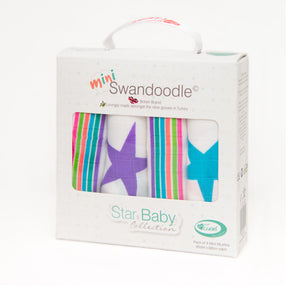 Mini Swandoodles Bamboo Muslins Rock Stars - Pink and Blue Baby Boutique