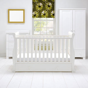 East Coast Nursery Cotbed Alaska Sleigh & Drawer White