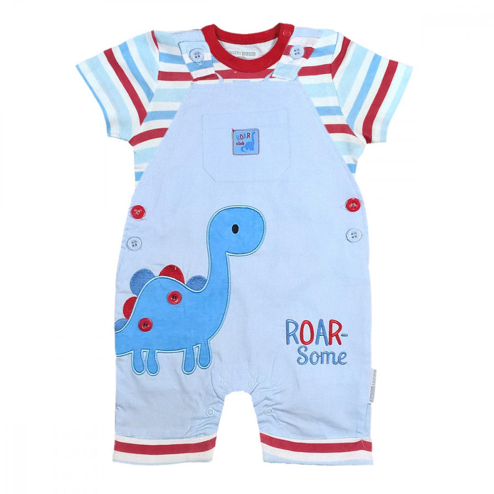 Cotton Roar Dungaree Set - Pink and Blue Baby Boutique