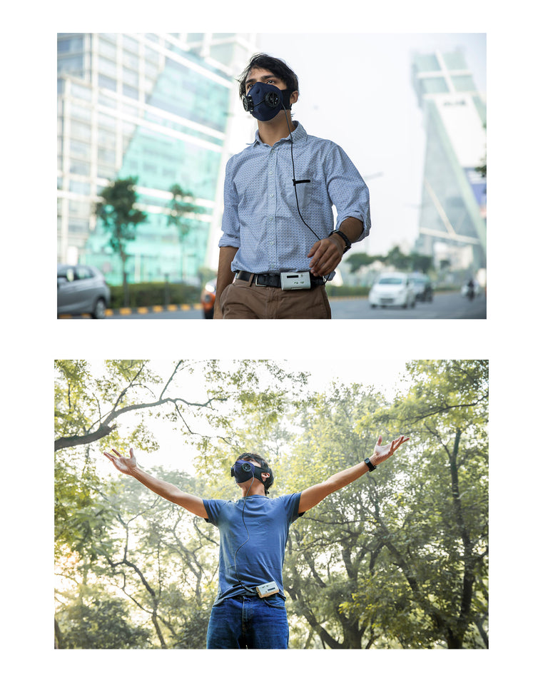 Moksha Cloth Mask with N95 Filter Pack + Battery