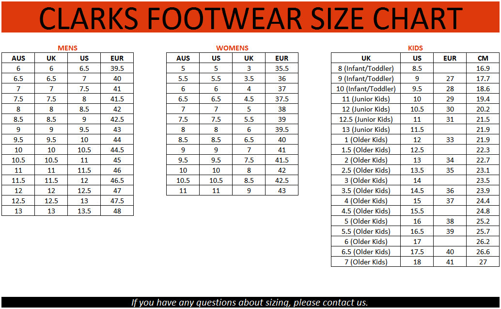 clarks kids shoe size