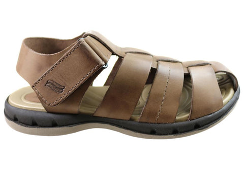 Itapua Troy Mens Leather Comfort Closed Toe Sandals Made In Brazil