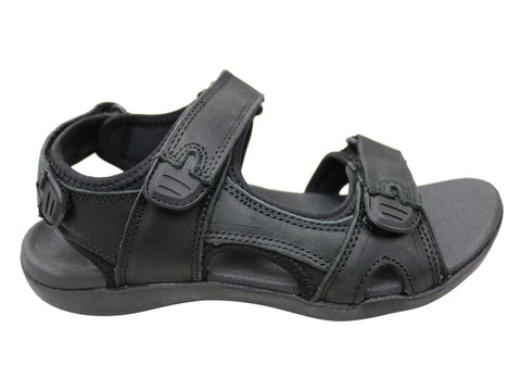 Scholl Orthaheel Brody Mens Supportive Comfort Leather Sandals