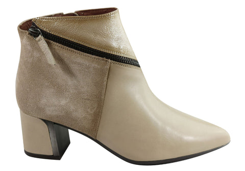 Hispanitas Womens HI99141 AMELIA-5 Leather Ankle Boots Made In Spain
