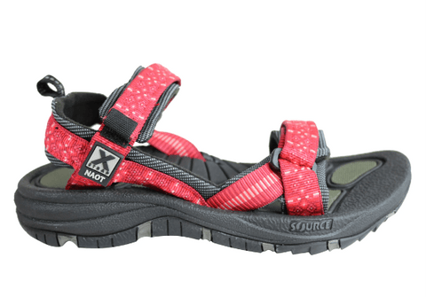 women's red and black outdoor sandal