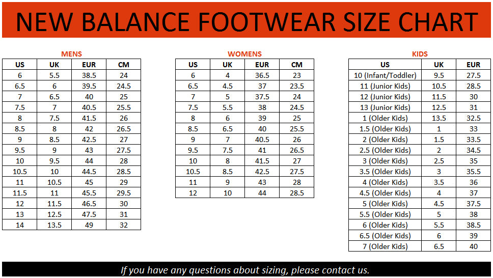 new balance size chart for shoes
