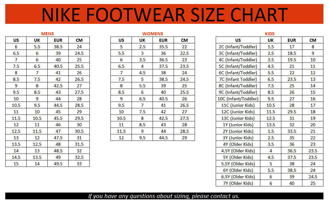 nike size chart youth shoes
