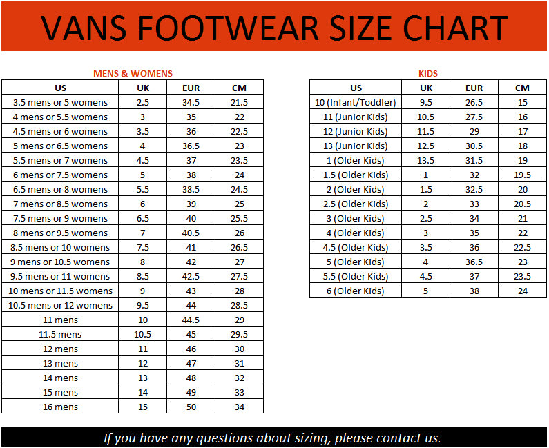 vans little kid size chart