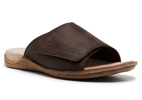 Hush Puppies Whisper Mens Wide Fit Leather Slides
