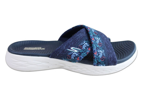Skechers Womens On The Go 600 Monarch Comfort Cushioned Slide Sandals