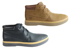 Caterpillar Zine Mens Leather Wide Fit Lace Up Casual Shoes Boots