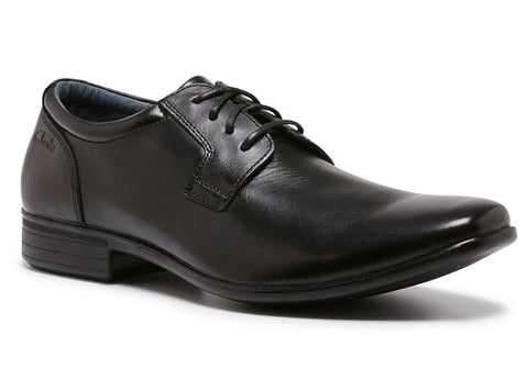 Clarks Cole Senior Boys Black Leather School Shoes