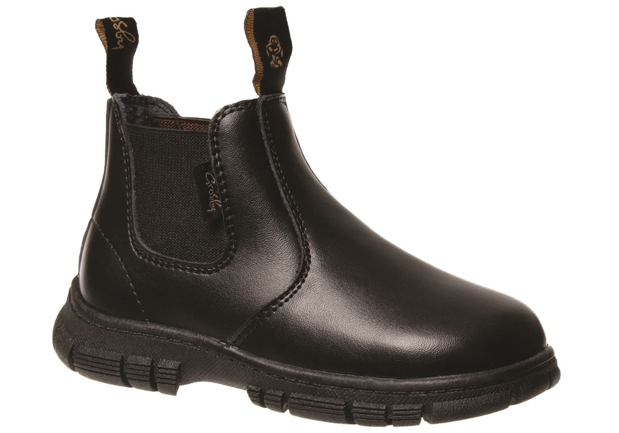 6711f5995f2 Home Grosby Ranch Junior Kids Leather Pull On Boots. Black ...